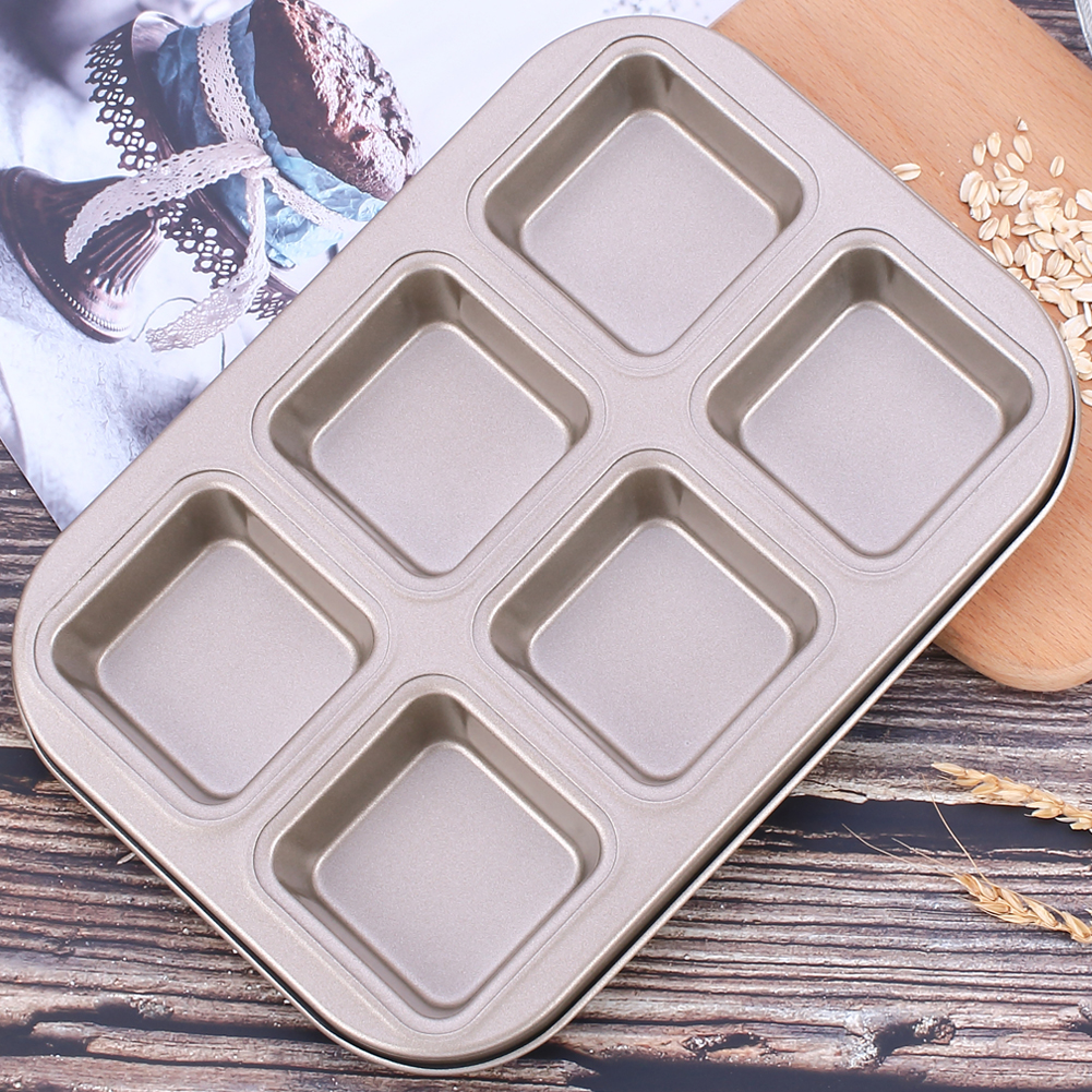 6 Cavities Carbon Steel Mold Tray Cake Chocolate Cookie Muffin Baking Pan