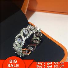Unique 925 Sterling silver Ring AAAAA Cubic Zirconia Engagement Wedding Band Rings for wome
