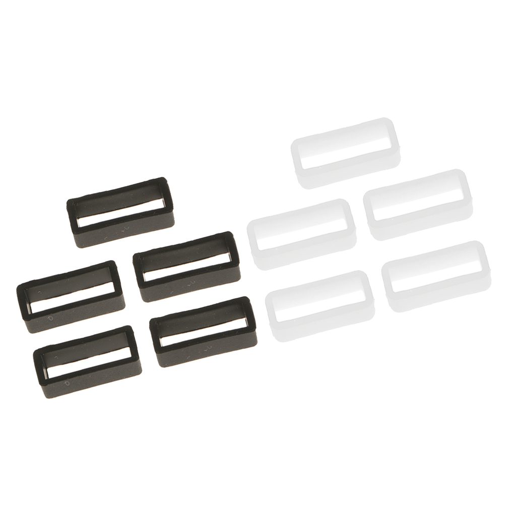10x Silicone Watch Strap Buckle Band Keeper Hoop Loop Holder Retainer Rings