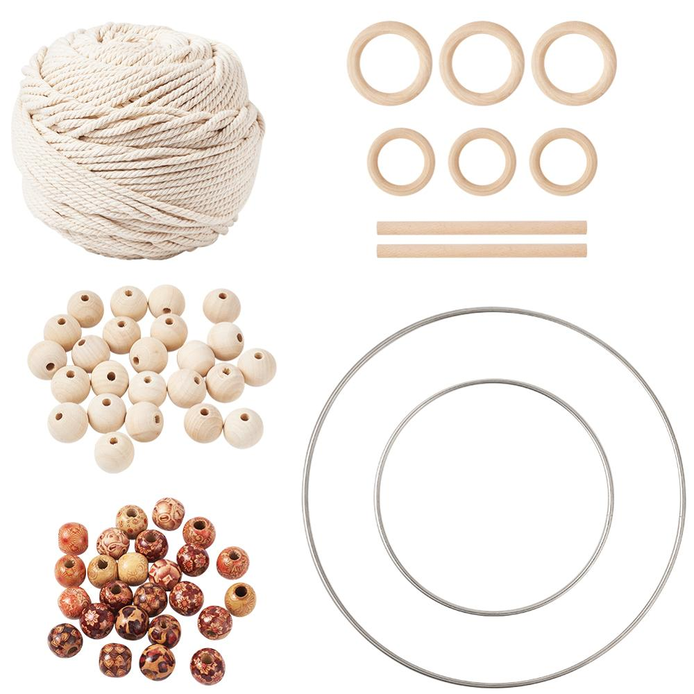 1 Set DIY Jewelry Wood <font><b>Beads</b></font> Cotton String <font><b>Threads</b></font> Iron Linking Rings for Handmade Crafts Making Mixed Color image