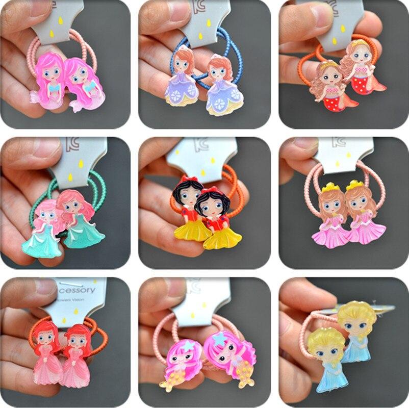 2PCS New Cartoon Cute Mermaid Princess Headwear Kids Elastic Hair Bands Children Ropes Girls Accessories Baby Headdress