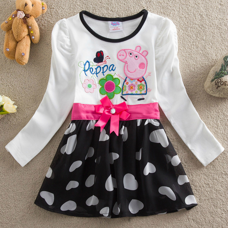 Peppa Pig Children Baby Girl Autumn Winter Princess Long Sleeve Skirts Clothes Fashion Cotton Lace Girl Baby Skirt Dresses 1-6Y