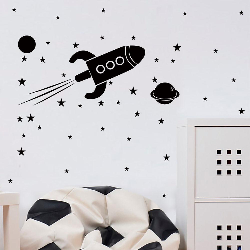 Autocollants muraux planète rocket étoiles, autocollant amovible, décoration pour chambre d'enfant