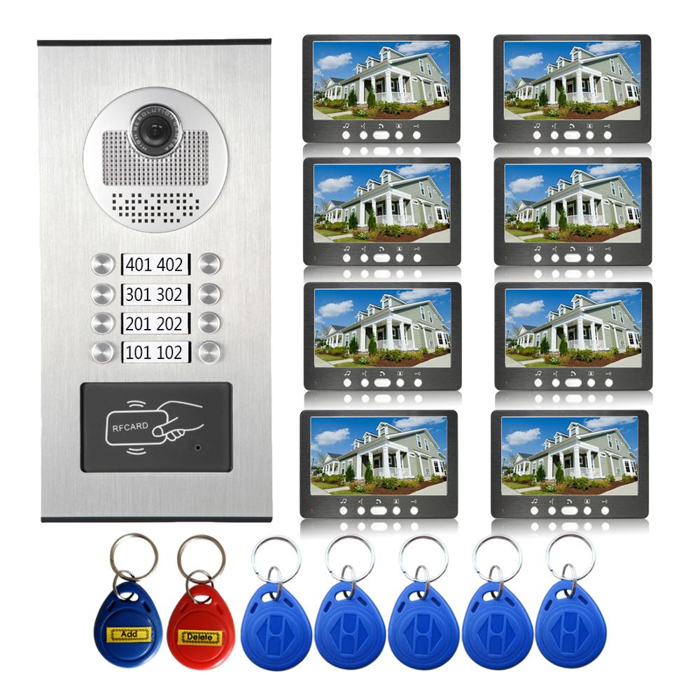 7'' Wired Video Door Phone Intercom System RFID Access Entry Camera Door Bell 8/6/4 Monitors Multi- Apartments/Family/Home