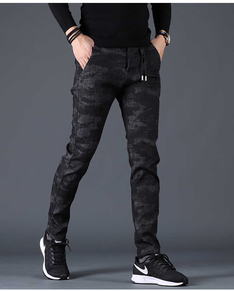 Free shipping new fashion men's male casual Original camouflage jeans men plus velvet autumn stitching pants Slim Korean C3129 89