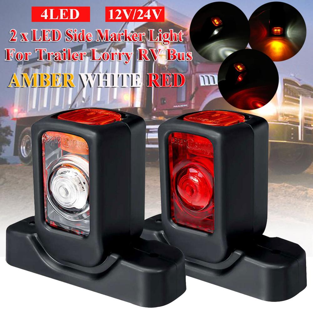Pair 12/24V Truck LED Side Marker Light Triple Amber White Red Indicator Lamps For Trailer Lorry RV Bus image