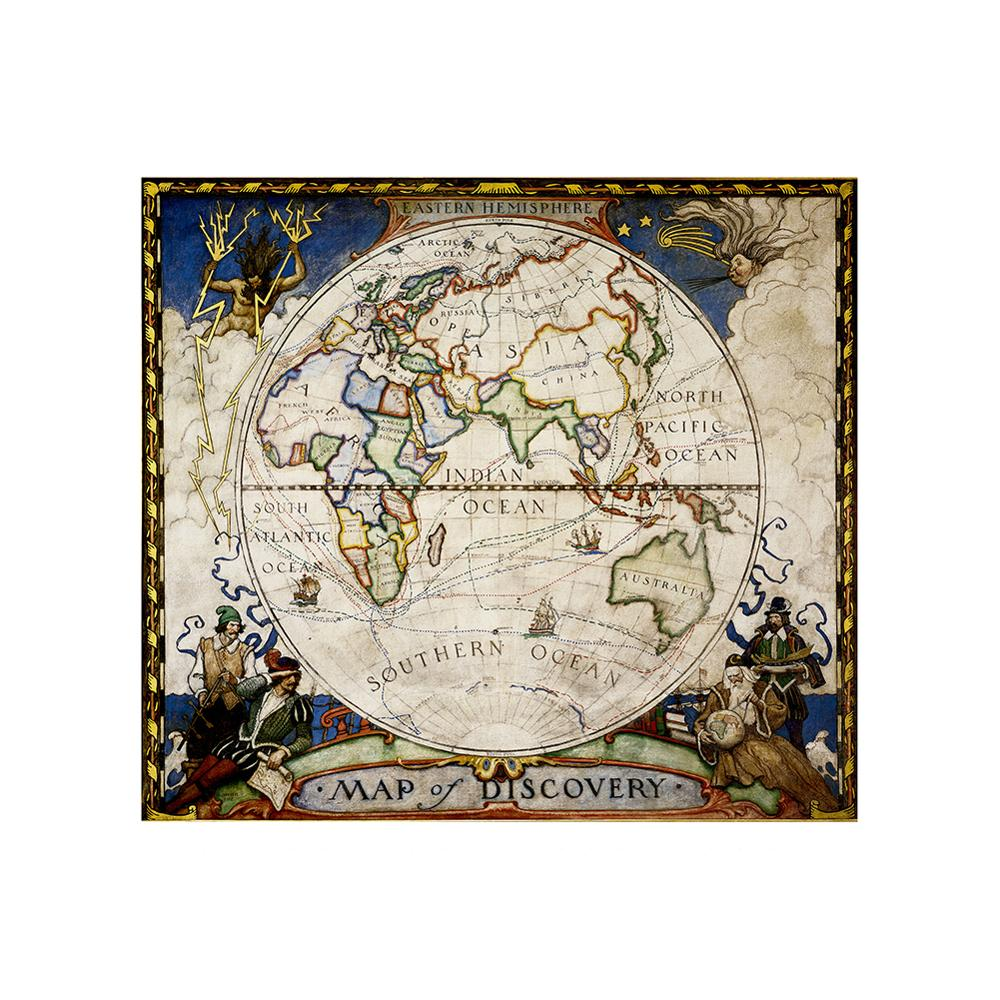 90x90cm Antique Decorative Map Medieval Style Non-woven Foldable World Map 1:1 HD World Map For Trip And Travel