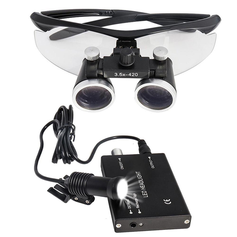 2.5X/3.5X Binocular Dental Loupes W/ 5W LED Head Light Medical Surgical Glasses