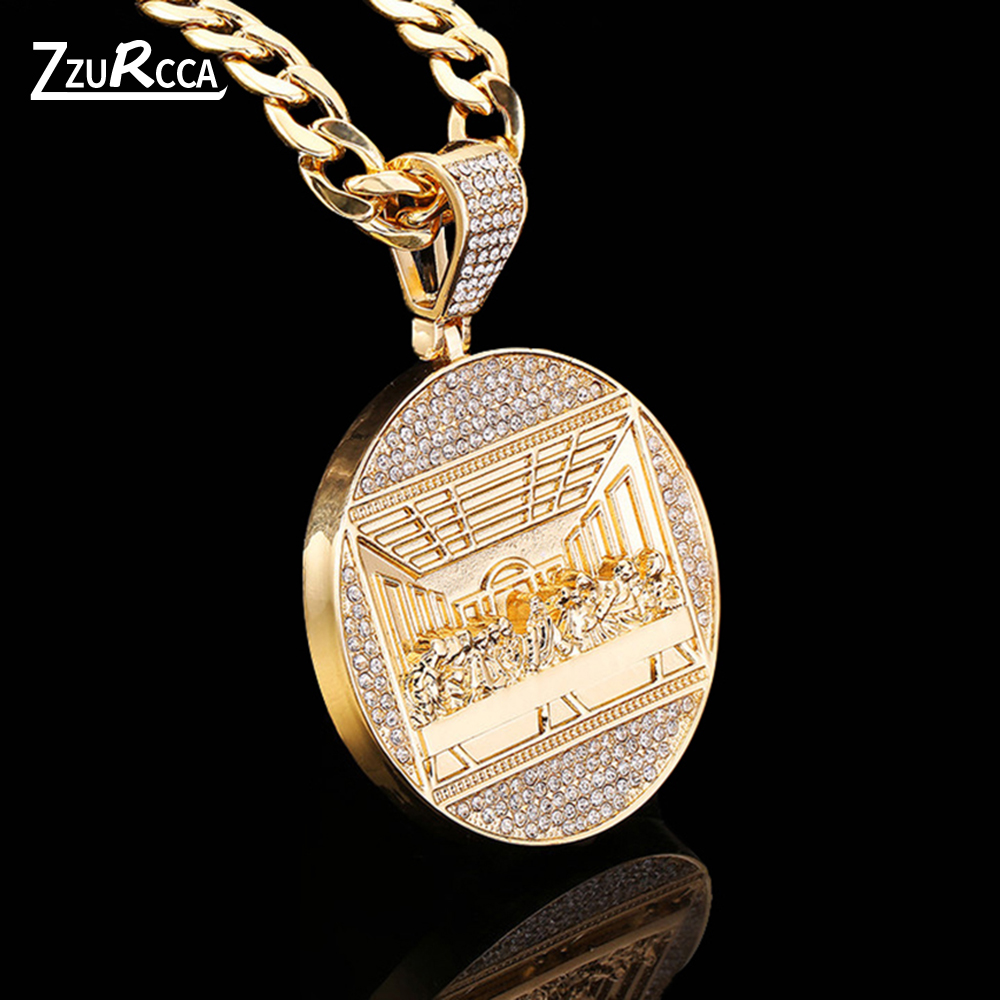 The Last Supper Big Pendant Necklace Iced Out Bling Zircon Gold Color Jesus Necklace for Men Hip Hop Charm Jewelry Gift