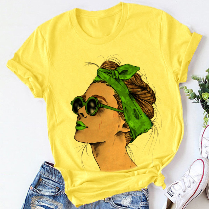 Yellow Plus Size Tshirt Women Summer Vogue Print Lady Casual T Shirt Tops Harajuku Streetwear Short Sleeve O Neck Tees Tshirt