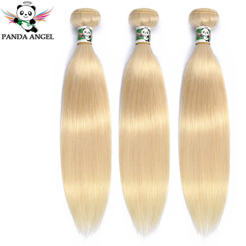 Panda Brazilian Straight Blonde Hair Bundles Weave For Women 1/3Pc 613 Blonde Bundles Remy Human Hair Weave Extensions 10-28Inch