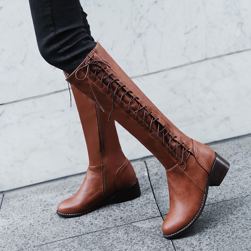 2019 fashion large sizes 33-50 dropship autumn winter Knee High Boots Fashion cross-tied Women Shoes Woman riding Boots women