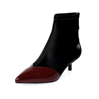 Women's genuine leather Lycra patchwork high heel ankle boots elegant ladies thin high heel pointed toe ladies short boots shoes
