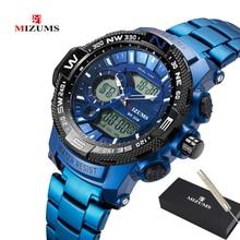יוקרה למעלה מותג MIZUMS גברים צבאי עמיד למים דיגיטלי ספורט שעונים Mens שעון זכר יד קוורץ שעון Relogio Masculino XFCS