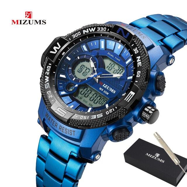Top Luxury ยี่ห้อ MIZUMS ผู้ชายกันน้ำดิจิตอลกีฬานาฬิกา Mens นาฬิกานาฬิกาข้อมือชายนาฬิกาควอตซ์ Relogio Masculino XFCS