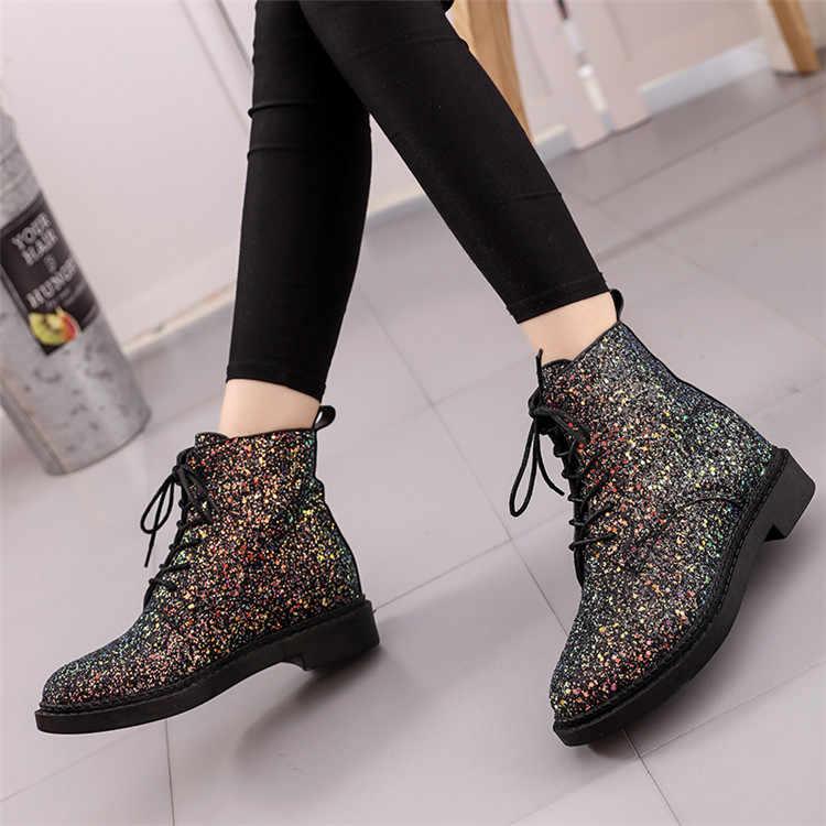 Tasarımcılar avrupa kadınlar yarım çizmeler topuklu kadın ayakkabısı kadın sonbahar Glitter Lace up çizmeler rahat Bling pembe siyah beyaz