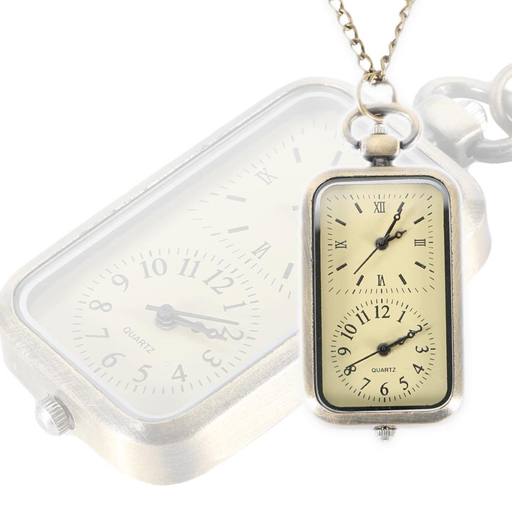 Vintage Quartz Steampunk Pocket Watch Dual Double Time Zone Movement Necklace Chain Clock XRQ88