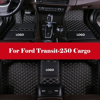 Alfombra interior automotriz de doble capa, alfombrillas para el suelo del coche, alfombrillas de cuero con forro delantero y trasero para Ford Transit-250 Cargo