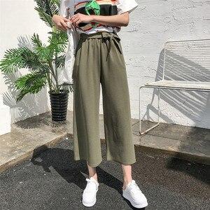 Image 2 - Женские свободные брюки палаццо, Элегантные повседневные брюки в стиле преппи с широкими штанинами, однотонные брюки, 2020