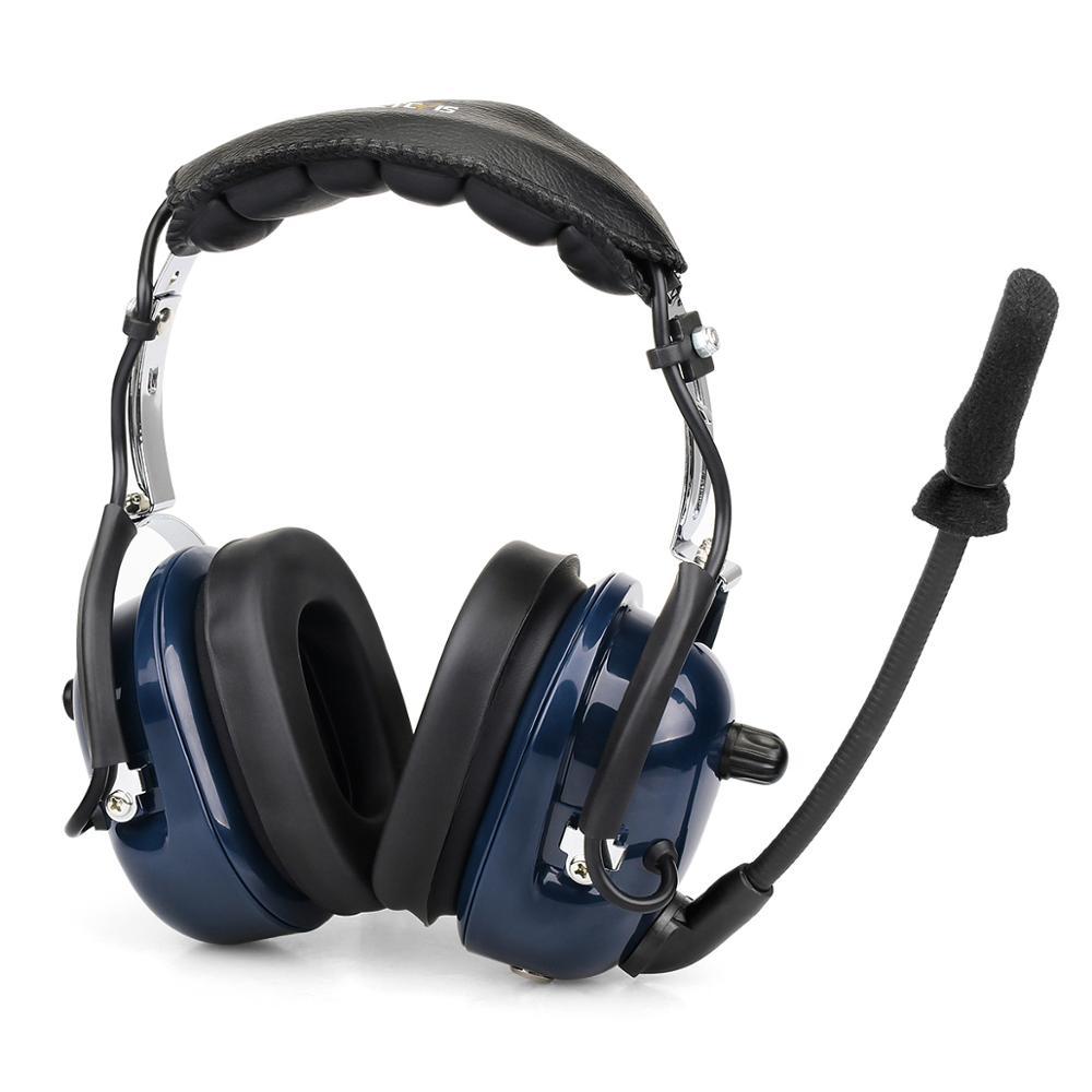 Retevis EH050K Blue VOX Volume Adjustment Speaker Noise Reduction Aviation MIC Headset with Finger PTT for Kenwood Retevis