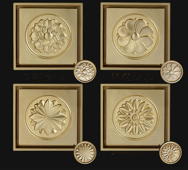 Top quality brass floor drain gold 100*100mm golden Carving pattern bathroom shower room drainer Large flow drainage