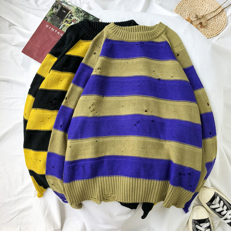 Sweater Stranger-Things Streetwear Harajuku Stripe Masculina Winter Men's Fashion Hip-Hop