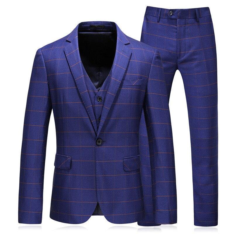 Men Suit костюм Blue Checked Men's Business Casual Suit Men Suit 3-piece Suit Blazer Trousers Vest Mens Suit High Fashion Terno