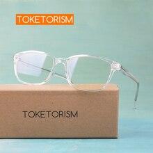 Toketorism quality transparent eyeglass tr90 and metal woman glasses optical frames 9019