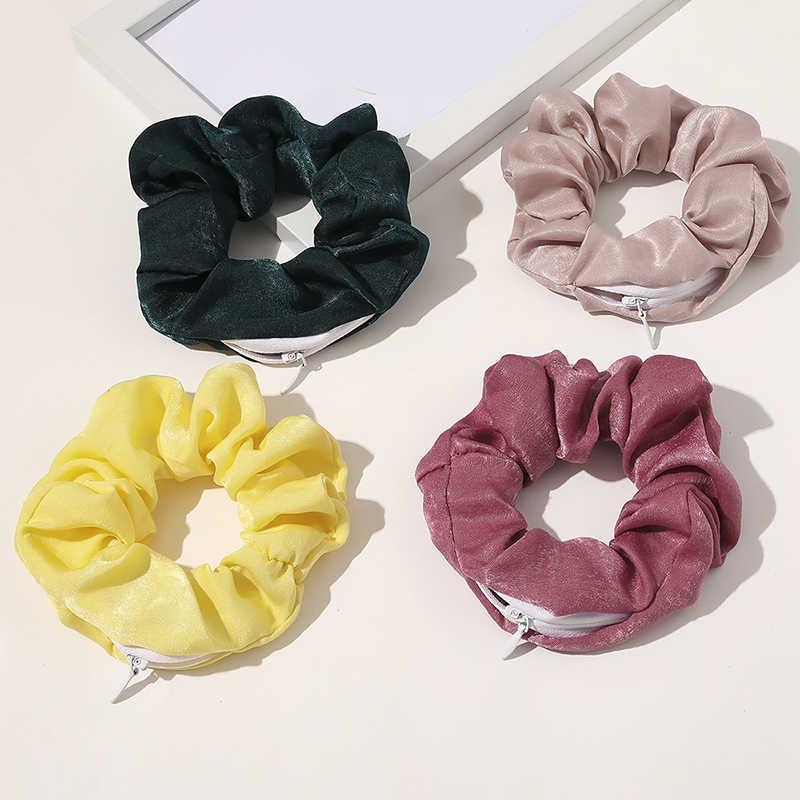 2020 ออกแบบใหม่ซิปScrunchiesผู้หญิงเสือดาวเชือกผมยืดหยุ่นHairbandsกระเป๋าScrunchieซาตินผมอุปกรณ์เสริม