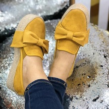 2020 Spring Women Flats 2020 Shoes Slip On Casual Ladies Canvas Shoes Bow Thick Bottom Loafers Female Espadrilles Flat veowalk striped women casual cotton cloth loafers handmade slip on ladies thick hemp soled canvas flat shoes zapato mujer
