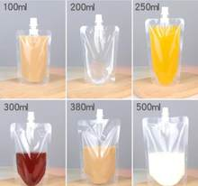 100pcs 100ml-500ml Stand up Packaging Bags Drink Spout Storage Pouch for Beverage Drinks Liquid Juice Milk Coffee(China)