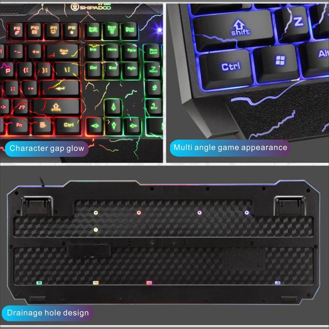 LED Luminous Gaming Keyboard Mouse Combos USB Wired Gamer Kit Backlight Waterproof Multi-Media Keyboard And Mouse Set For PC 4