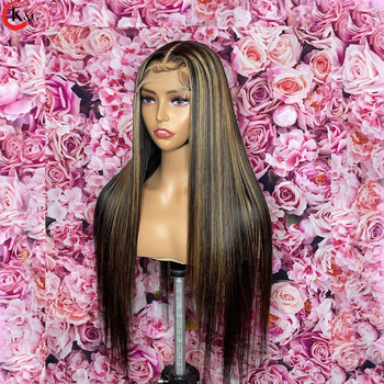 KUNGANG Highlight13*4 Lace Wigs Straight Human Hair Wigs Brazilian Front Wigs 150% Density With Baby Hair Non-Remy 4