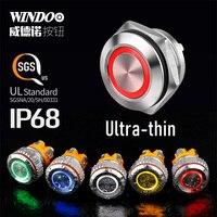 Mini interruptor momentáneo de Metal ultradelgado, 12, 16, 19 y 22MM, con luz indicadora de LED, resistente al agua IP68