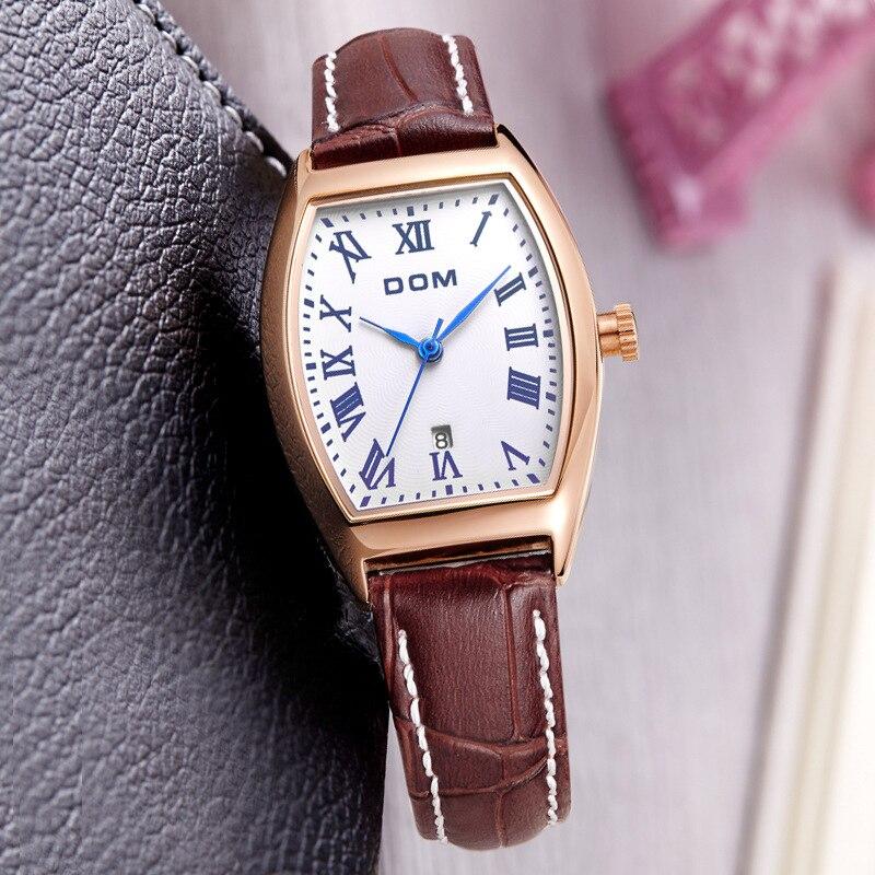 DOM (Dom) Women's Genuine Leather Strap Watch Classic Retro Waterproof Quartz WOMEN'S Watch G-1012GL-7M