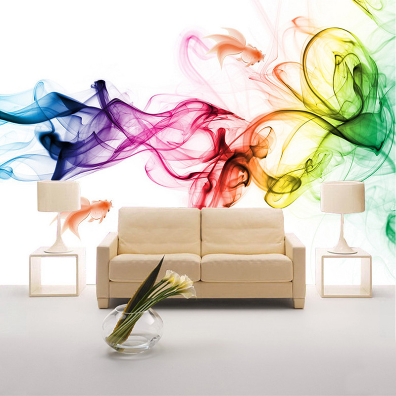 Custom Mural Wallpaper Modern Abstract Geometric Color Smoke Art Wall Painting Living Room Sofa TV Background Papel De Parede 3D