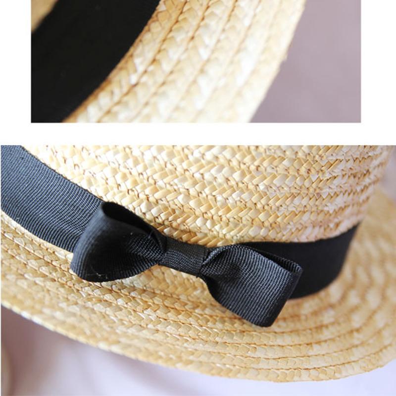 Image 4 - YOYOCORN Outdoor Beach Summer Caps Chapeu Feminino Bow Handmade Weave  Sun Hats For Women Black Ribbon Up Large Brim Straw HatMens Sun Hats   -