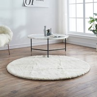 Simple style solid gray blue color natural sheepskin fur rug , round shaped little curly soft sheep fur living room carpet