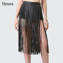 Boho Women Sexy Tassel Leather Skirts Punk Gothic Waistband Long Fringe Black High Waist Belt Club Party Skirt