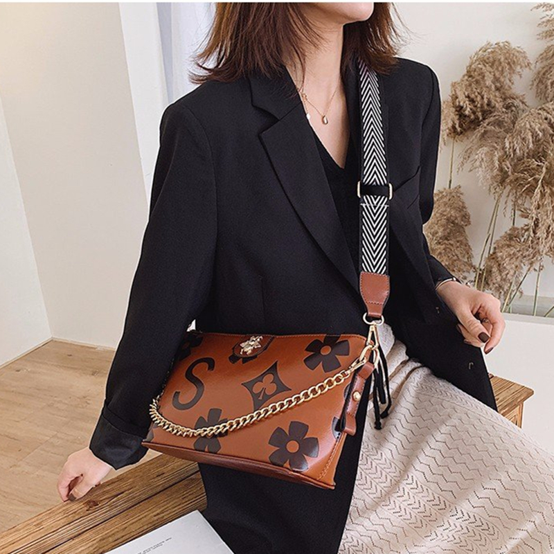 2019 Vintage Floral Printing Luxury Brand Bee Designer Chain Shoulder Bags Fashion Leather Woman Famous Handbag GG Louis Bag