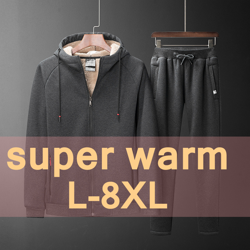 Winter Warm Casual Tracksuits Men Thick Velvet Cashmere Hooded Sweatshirt+pants 2 Pieces Set Men Track Suits Plus Size L-8XL