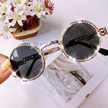 Vintage Round Diamond Sunglasses Women Luxury Brand Steampunk Clear Lens Red Yel