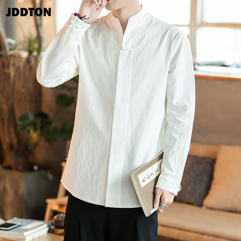 JDDTON Men's Long Sleeve Shirts Solid Chinese Style Cotton And Linen Casual Loose Man Clothing Male Retro Shirt Streetwear JE147