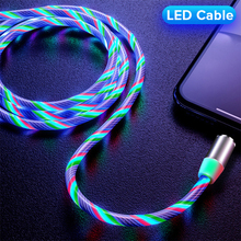 LED Magnetic Cable 1M USB Type C Cord Flow Luminous Lighting Data Wire For iPhone Samsung Huawei Xiaomi Mobile Phone Micro