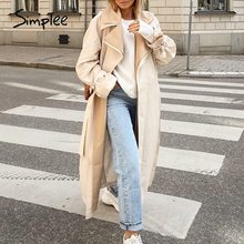 Simplee Elegant apricot autumn winter women wind coat Office lady lace up female trench coat Causal straight fashion long coat
