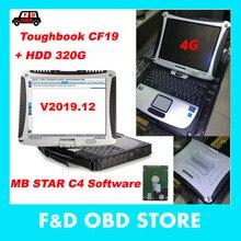 Для MB Star C4 готов к использованию Toughbook Panasoni CF19 CF-19 ноутбук 4g с полным программным обеспечением V2019.12 установлен в 320g HDD