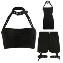 Women Harajuku Gothic Punk Choker Halter Crop Top Metal Buckle Backless Camisole Garters Shorts Bodycon Dress Streetwear