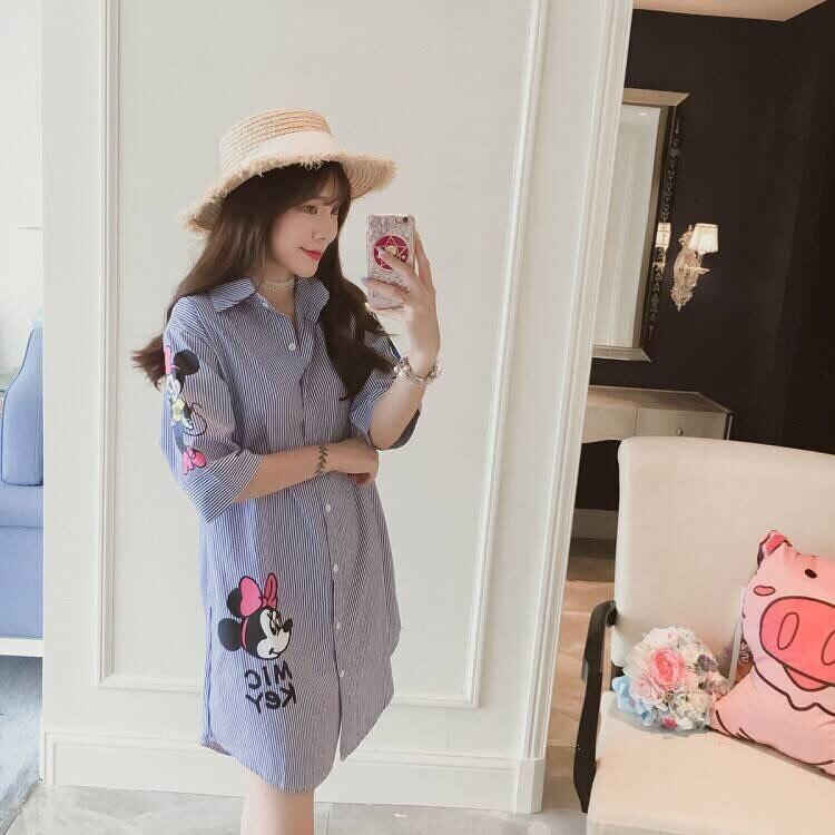 5 XL Women Shirt Plus Size Blouse Cartoon White Blouse Minnie Cotton Casual Fashion Voile Plus Size Women Clothes 8