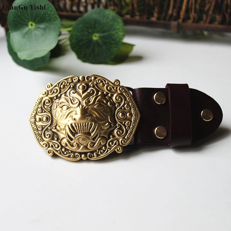 High Quality 3D Solid Copper Brass Heaven Swallowing Beast Metal Belt Buckle Fashion Animal Buckles For 4cm Wide Belt Men Jeans