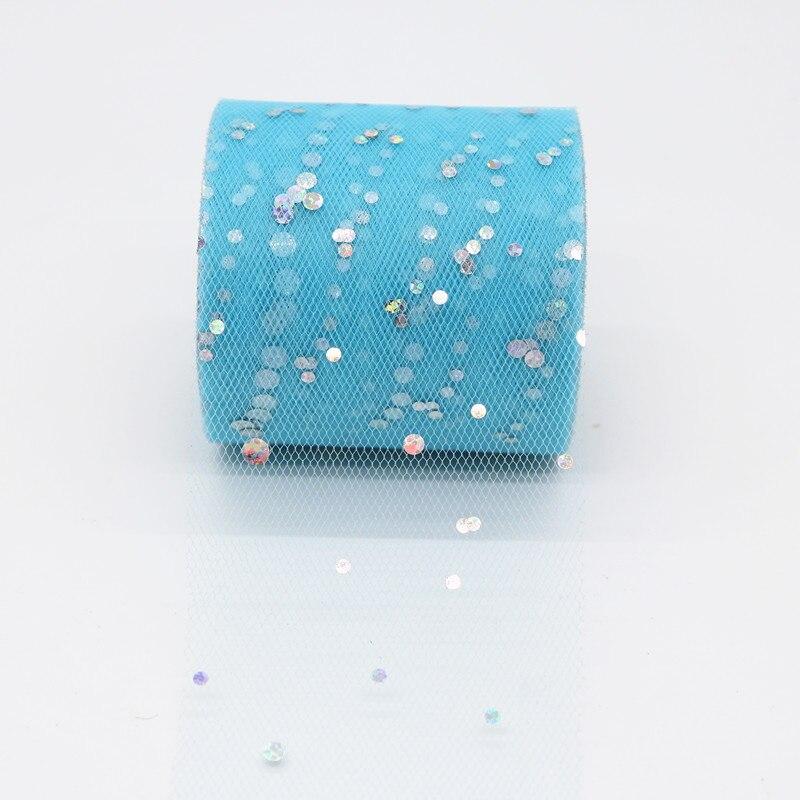 25 ярдов/рулон 6,5 см блеск рулон тюля с блестками Свадебные украшения кружева, тюль, платье-пачка «сделай сам» из органзы Baby Shower вечерние поставки - Цвет: AQ22
